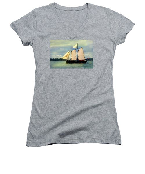 Women's V-Neck featuring the digital art Sailing The Sunny Sea by Shelli Fitzpatrick