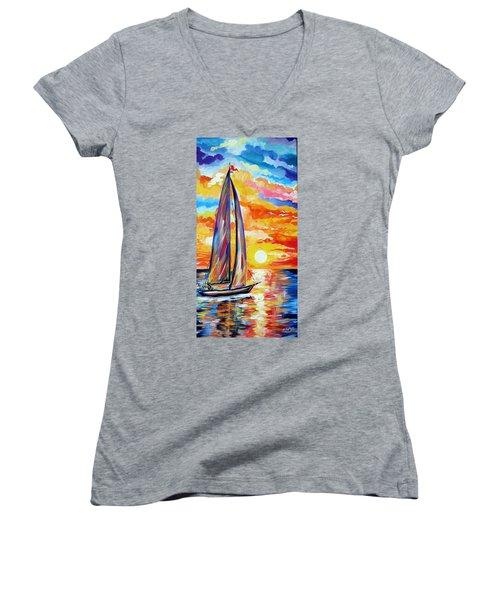 Sailing Towards My Dreams Women's V-Neck T-Shirt