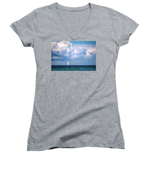 Sailing Under The Clouds Women's V-Neck T-Shirt