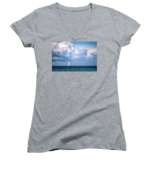 Sailing Under The Clouds Women's V-Neck (Athletic Fit)