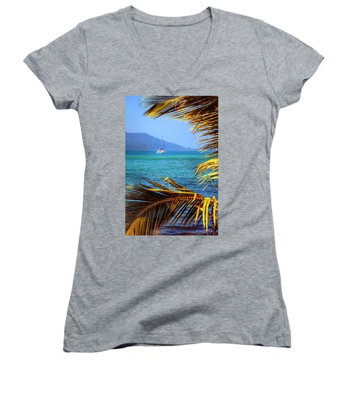 Women's V-Neck T-Shirt (Junior Cut) featuring the photograph Sailing Vacation by Alexey Stiop