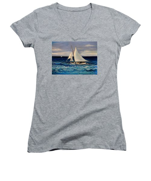 Sailing With The Waves Women's V-Neck (Athletic Fit)
