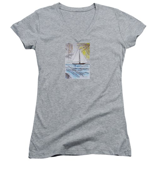 Sailors Delight Women's V-Neck T-Shirt (Junior Cut) by J R Seymour