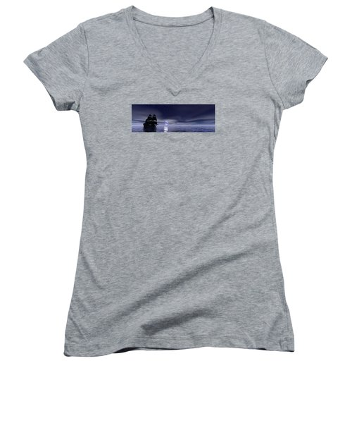 Sails Beneath The Moon Women's V-Neck T-Shirt (Junior Cut) by Mark Blauhoefer
