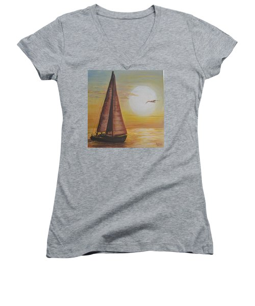 Women's V-Neck T-Shirt (Junior Cut) featuring the painting Sails In The Sunset by Debbie Baker