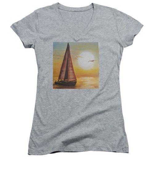 Sails In The Sunset Women's V-Neck T-Shirt (Junior Cut) by Debbie Baker
