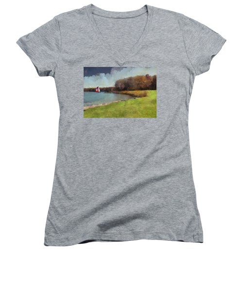 Sails On Lake Wampum Women's V-Neck T-Shirt (Junior Cut) by Cedric Hampton