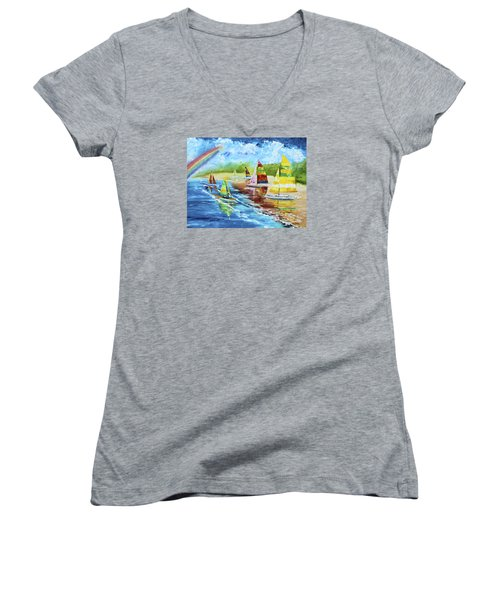 Sails On The Beach Women's V-Neck