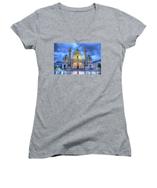 Saint Charles's Church At Karlsplatz In Vienna, Austria, Hdr Women's V-Neck T-Shirt