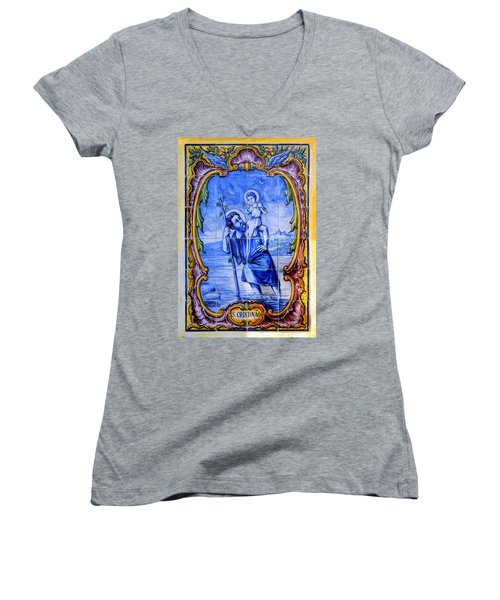 Saint Christopher Carrying The Christ Child Across The River - Near Entrance To The Carmel Mission Women's V-Neck T-Shirt