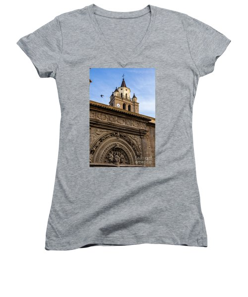 Women's V-Neck T-Shirt (Junior Cut) featuring the photograph Saint Hieronymus Facade Of Calahorra Cathedral by RicardMN Photography
