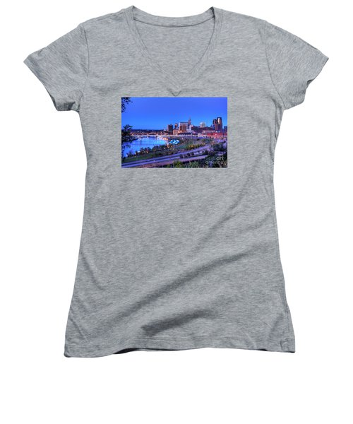Saint Paul Minnesota Skyline Blue Morning Light Women's V-Neck (Athletic Fit)
