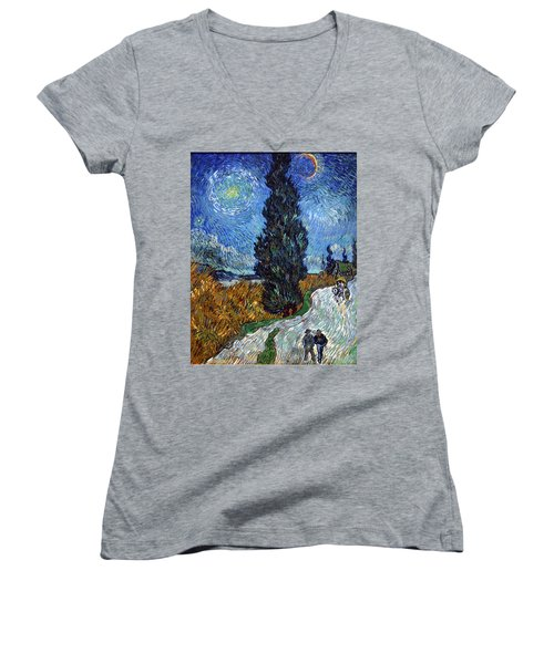 Saint-remy Road With Cypress And Star Women's V-Neck