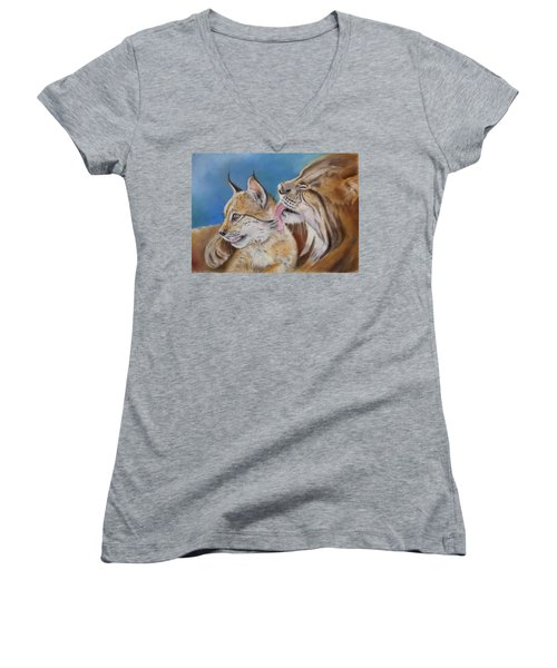 Women's V-Neck T-Shirt (Junior Cut) featuring the painting Saliega Y Brezo by Ceci Watson