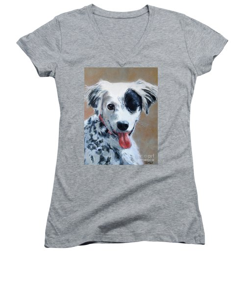 Women's V-Neck T-Shirt (Junior Cut) featuring the painting Sally by Diane Daigle