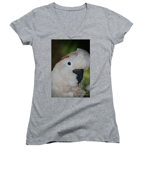 Salmon Crested Cockatoo Women's V-Neck T-Shirt (Junior Cut) by Sharon Mau