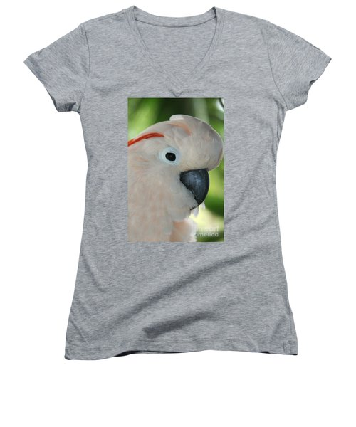 Salmon Crested Moluccan Cockatoo Women's V-Neck T-Shirt (Junior Cut) by Sharon Mau