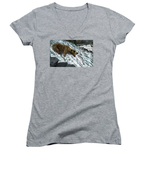 Salmon Fishing Women's V-Neck T-Shirt