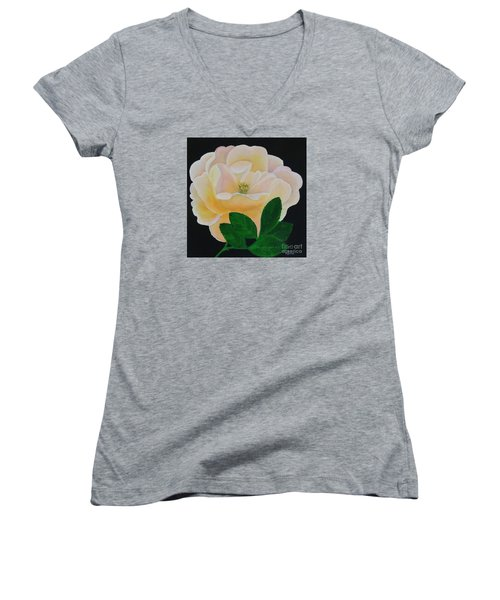 Salmon Pink Rose Women's V-Neck