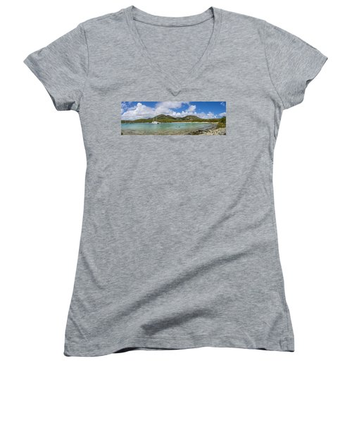 Women's V-Neck T-Shirt (Junior Cut) featuring the photograph Salt Pond Bay Panoramic by Adam Romanowicz