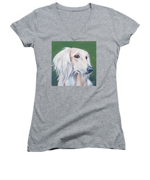 Women's V-Neck T-Shirt (Junior Cut) featuring the painting Saluki Sighthound by Lee Ann Shepard