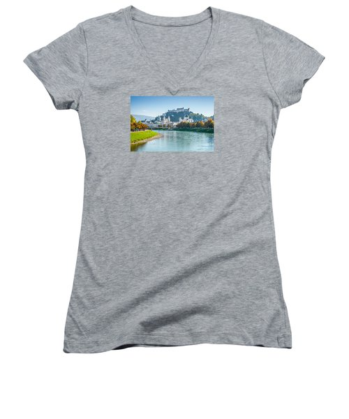 Salzburg Skyline With Fortress In Summer, Austria Women's V-Neck (Athletic Fit)