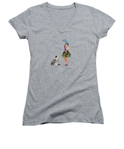 Women's V-Neck T-Shirt featuring the digital art Samantha by Nancy Levan