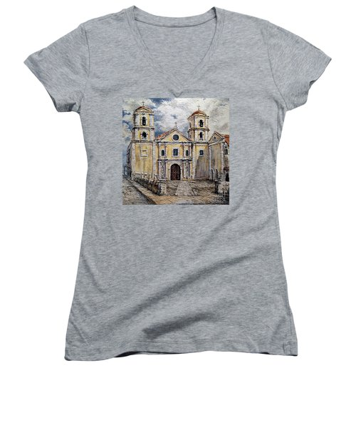 San Agustin Church 1800s Women's V-Neck T-Shirt (Junior Cut) by Joey Agbayani