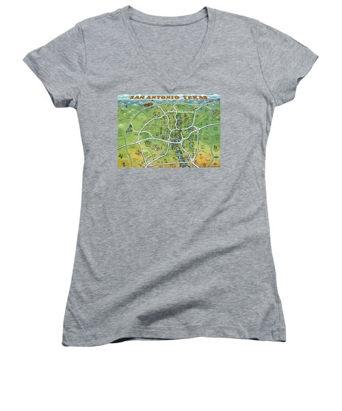 Women's V-Neck T-Shirt (Junior Cut) featuring the painting San Antonio Texas Cartoon Map by Kevin Middleton