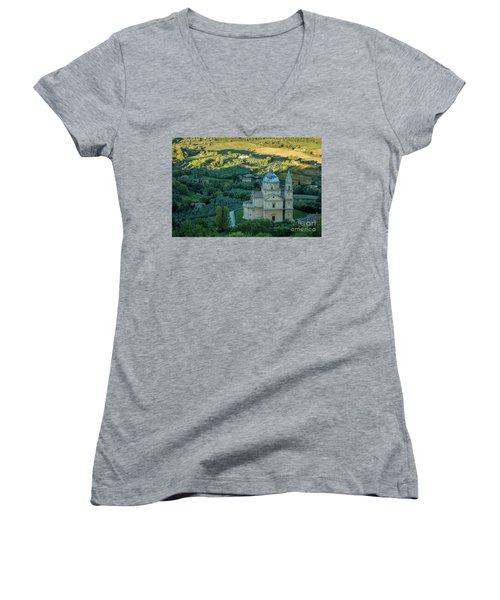 Women's V-Neck T-Shirt (Junior Cut) featuring the photograph San Biagio Church by Brian Jannsen