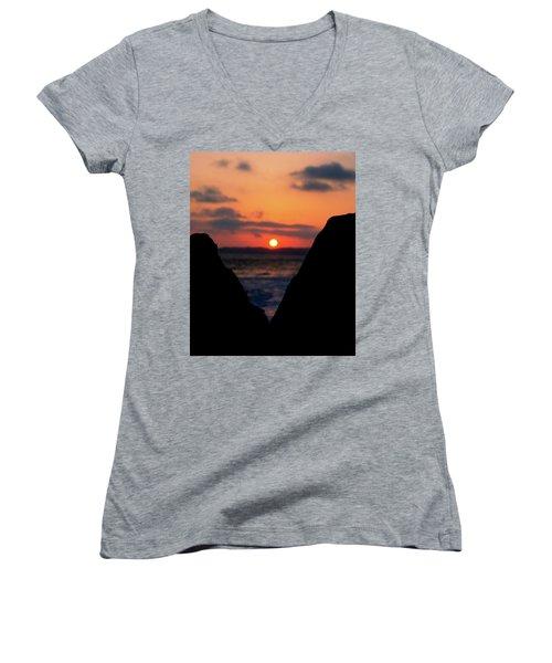 San Clemente Beach Rock View Sunset Portrait Women's V-Neck T-Shirt (Junior Cut) by Matt Harang