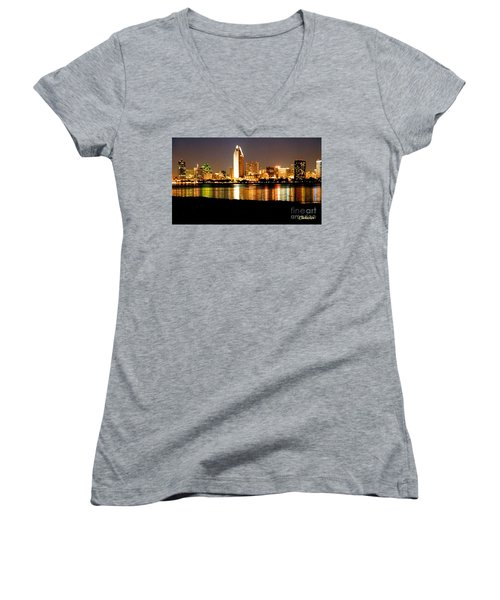 San Diego Skyline With Reflections On Mission Bay Women's V-Neck