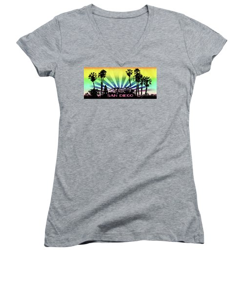 San Diego - Balboa Park Silhouette Women's V-Neck (Athletic Fit)