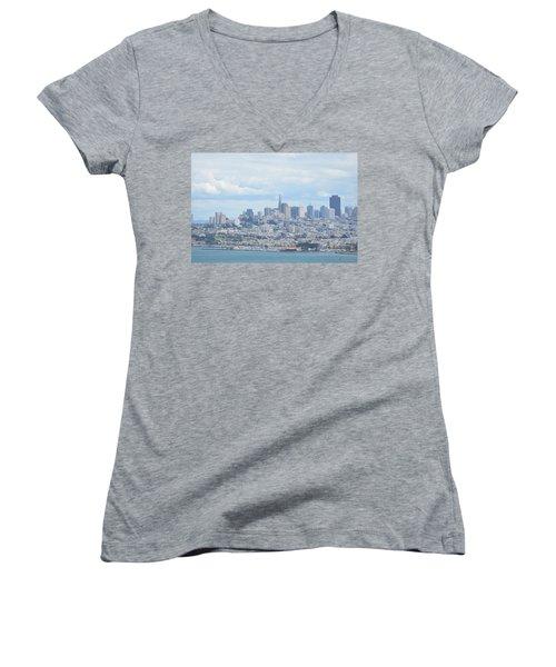 San Francisco Women's V-Neck T-Shirt (Junior Cut) by Alex King