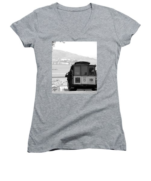 San Francisco Cable Car With Alcatraz Women's V-Neck