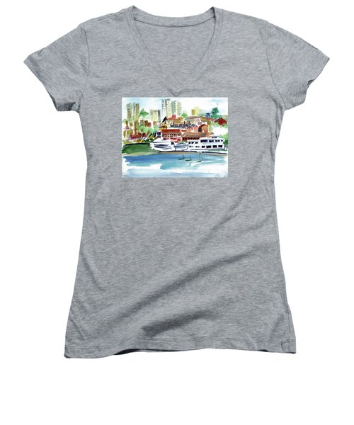 San Francisco Cityfront From Aquatic Park Women's V-Neck T-Shirt
