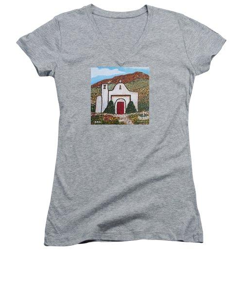 San Francisco De Asis Mission Church, Golden, Nm Women's V-Neck T-Shirt (Junior Cut)