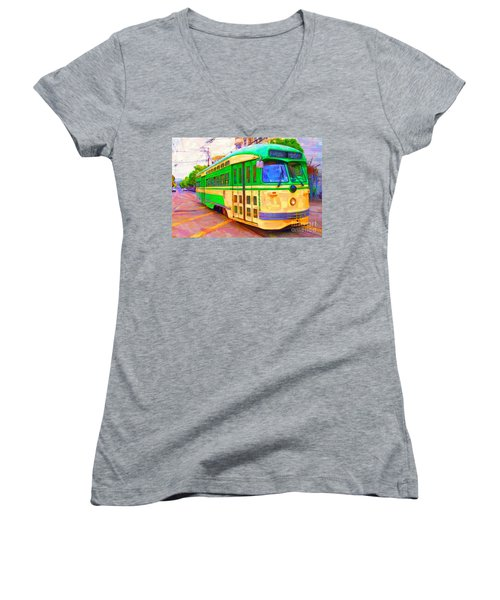 San Francisco F-line Trolley Women's V-Neck