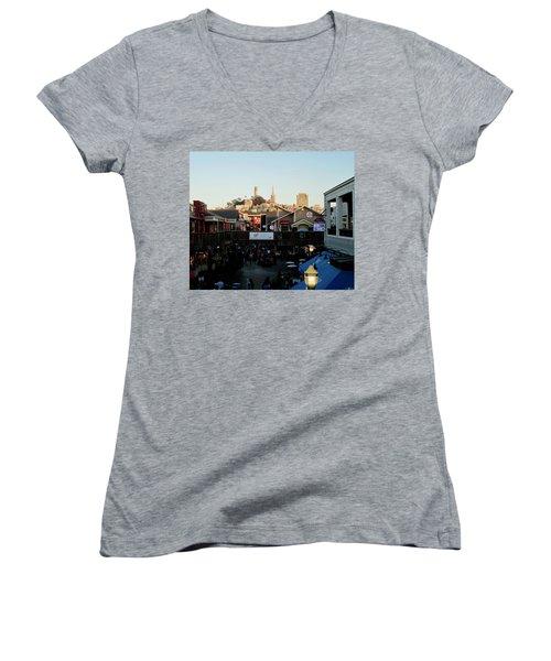 San Francisco In The Sun Women's V-Neck T-Shirt (Junior Cut) by Tony Mathews