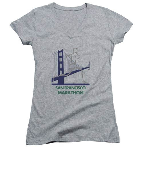 San Francisco Marathon2 Women's V-Neck T-Shirt (Junior Cut) by Joe Hamilton