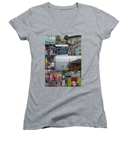 Women's V-Neck T-Shirt featuring the photograph San Francisco Poster by Joan Reese