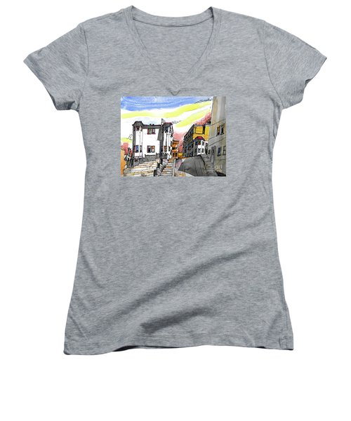 San Francisco Side Street Women's V-Neck T-Shirt (Junior Cut) by Terry Banderas