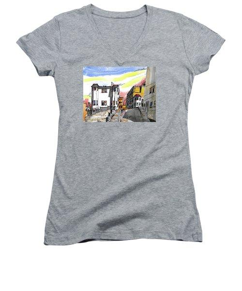San Francisco Side Street Women's V-Neck T-Shirt (Junior Cut) by Terry Banderas