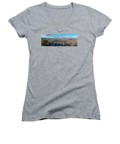 San Francisco Skyline From Bernal Heights Park At Sunset - San Francisco California Women's V-Neck