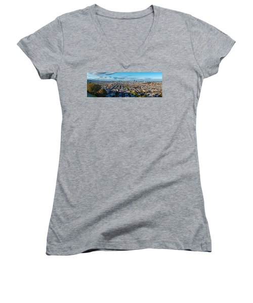 San Francisco Skyline From Bernal Heights Park At Sunset - San Francisco California Women's V-Neck (Athletic Fit)