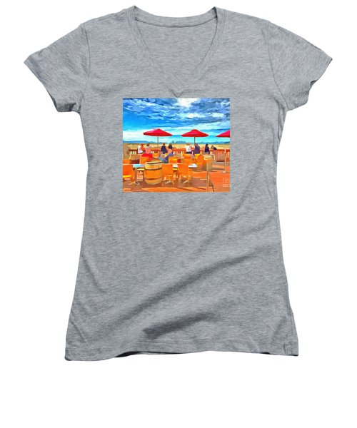 San Francisco Skyline From Alameda  Women's V-Neck T-Shirt (Junior Cut) by Linda Weinstock