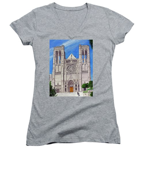 San Francisco's Grace Cathedral Women's V-Neck T-Shirt (Junior Cut) by Mike Robles