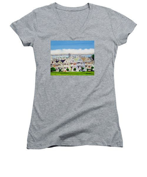 San Francisco's Painted Ladies Women's V-Neck T-Shirt (Junior Cut) by Mike Robles