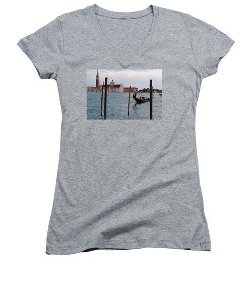 Women's V-Neck T-Shirt (Junior Cut) featuring the photograph San Giorgio Maggiore Gondola by Robert Moss