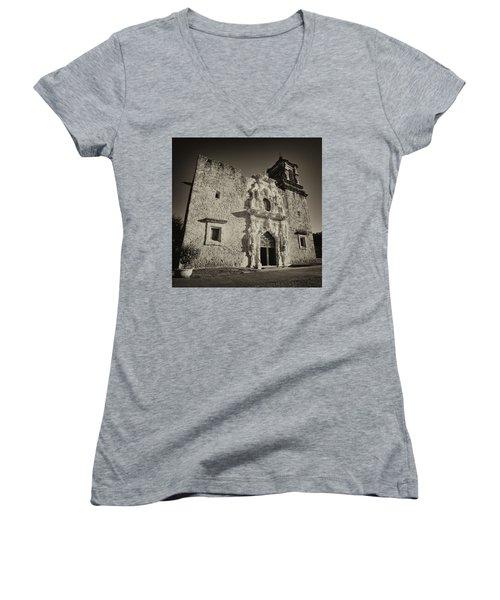 Women's V-Neck T-Shirt (Junior Cut) featuring the photograph San Jose Mission - San Antonio by Stephen Stookey